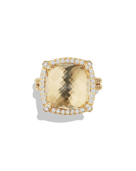 David Yurman 14mm Châtelaine 18K Champagne Citrine Ring with Diamonds, Size 6