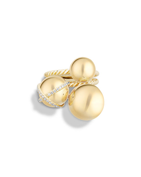 David Yurman Solari Cluster Ring with Diamonds in 18K Gold, Size 7