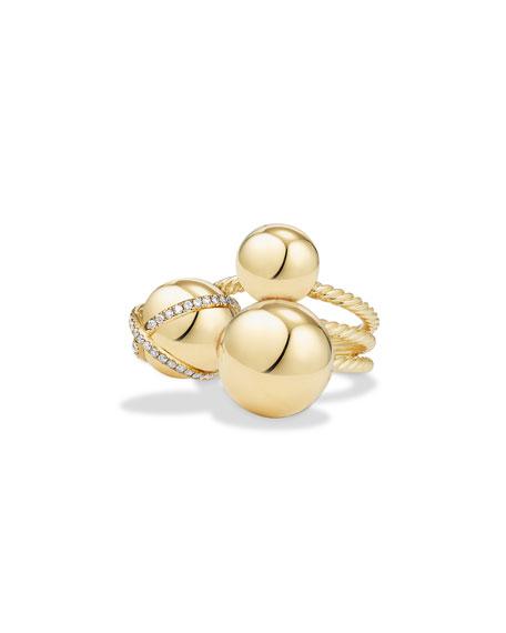 David Yurman Solari Cluster Ring with Diamonds in 18K Gold, Size 6