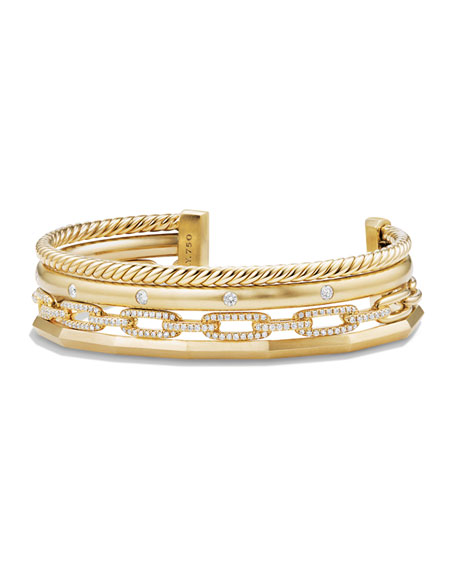 David Yurman Stax 18k Gold Four-Row Cuff Bracelet