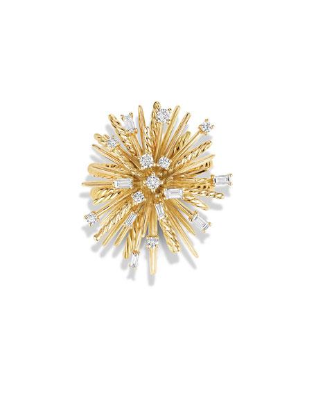 Supernova Mixed-Cut Diamond Spray Ring in 18K Gold, Size 8