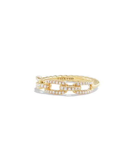 Stax Single-Row Pave Chain Link Ring with Diamonds in 18K Gold, Size 5