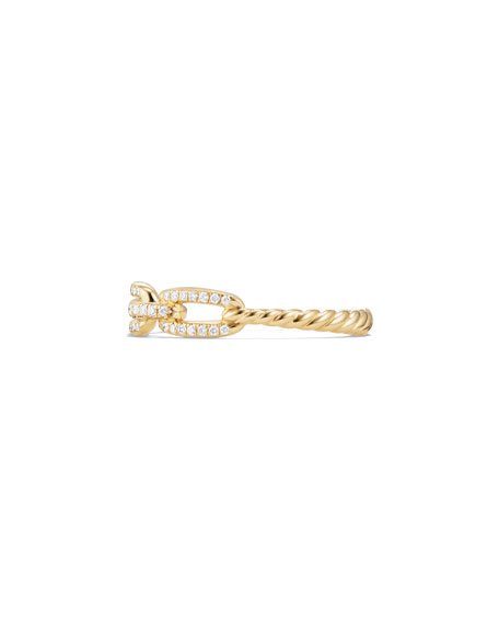 David Yurman 4.5mm Stax 18K Chain Link Ring with Diamonds, Size 8