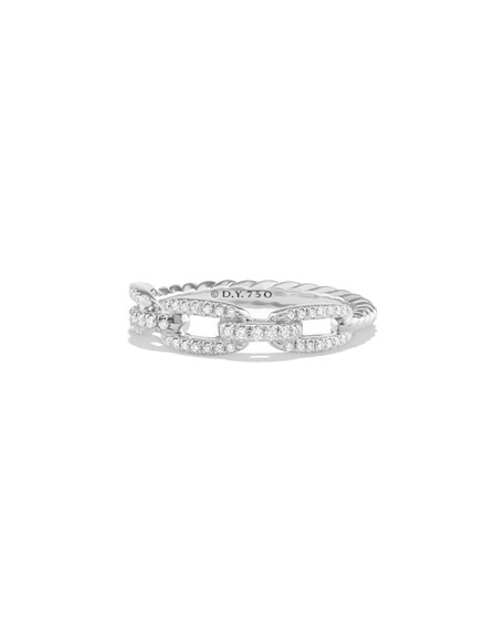David Yurman Stax Pavé Diamond Chain Link Ring in 18K White Gold, Size 5
