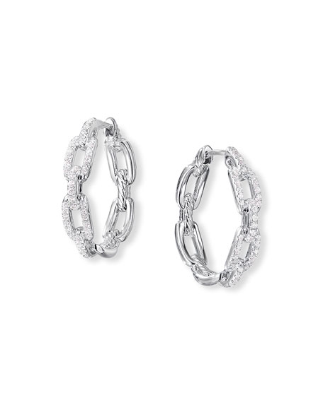 David Yurman Stax Diamond Chain Link Earrings in 18K White Gold