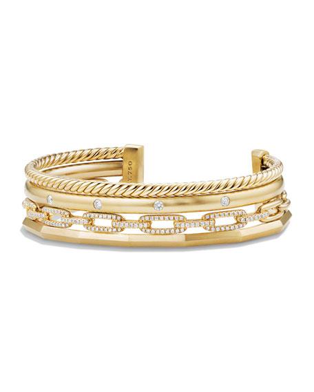 David Yurman Stax 18k Gold Four-Row Cuff Bracelet