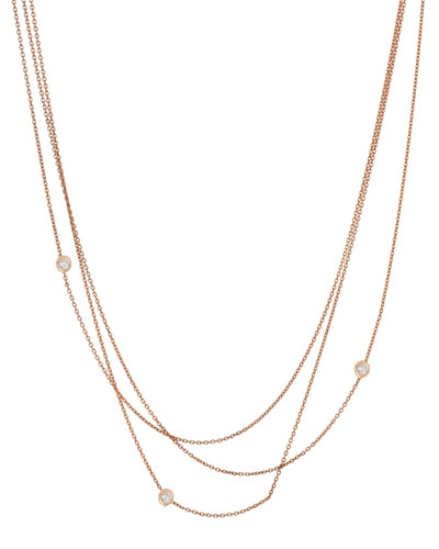 Beads Multilayer Diamond Bezel Chain Necklace in 14K Rose Gold