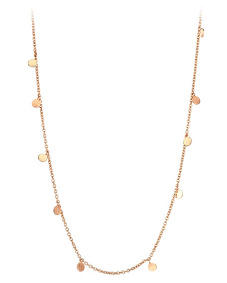 Seed Scattered Dangling Circle Necklace in 14K Rose Gold