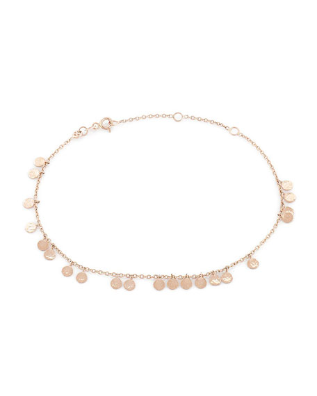 Kismet by Milka Beads Dangling Circles Anklet in 14K Gold