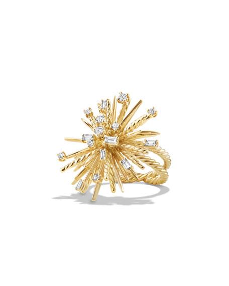 David Yurman Supernova 33mm 18K Gold Spray Ring with Diamonds, Size 7