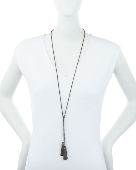 Double-Tassel Chain Lariat Necklace with Diamonds