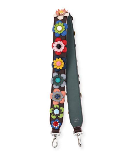 Fendi Strap You Floral Shoulder Strap For Handbag Brown