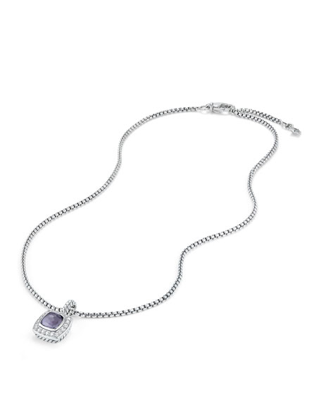 Petite Albion Pendant with Hampton Blue Topaz and Diamonds on Chain