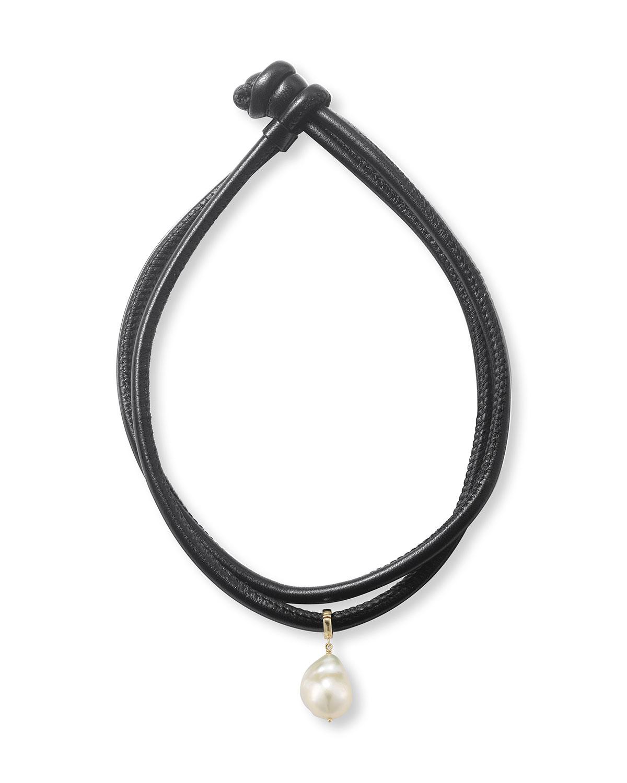 Mizuki Leather Wrap Bracelet with Pearl Slider xt62typigH