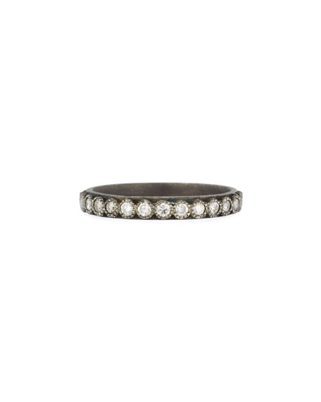 Old World Midnight Blackened Band Ring with Diamonds