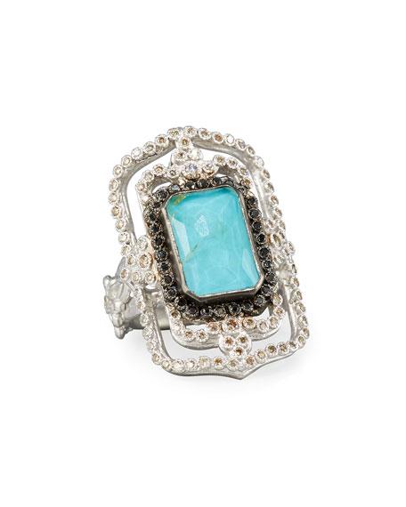 Armenta New World Midnight Turquoise & Diamond Scroll