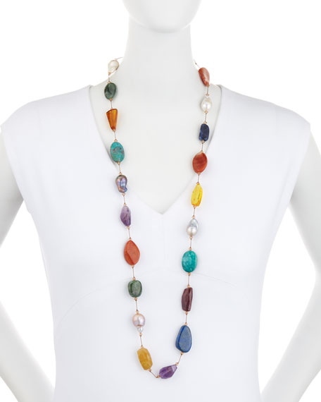 Image 2 of 2: Margo Morrison Multi-Stone & Pearl Hand-Knotted Necklace, 35""