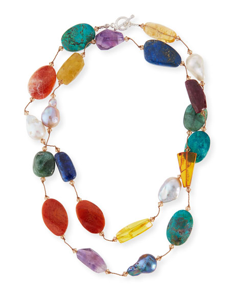 Image 1 of 2: Margo Morrison Multi-Stone & Pearl Hand-Knotted Necklace, 35""