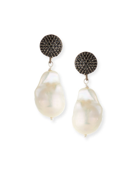Baroque Pearl Drop Earrings with Black Spinel