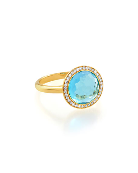 Ippolita 18k Gold Rock Candy Mini Lollipop Ring in London Blue Topaz & Diamond