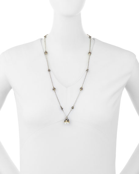 Pink Tourmaline & Pearly Pendant Necklace