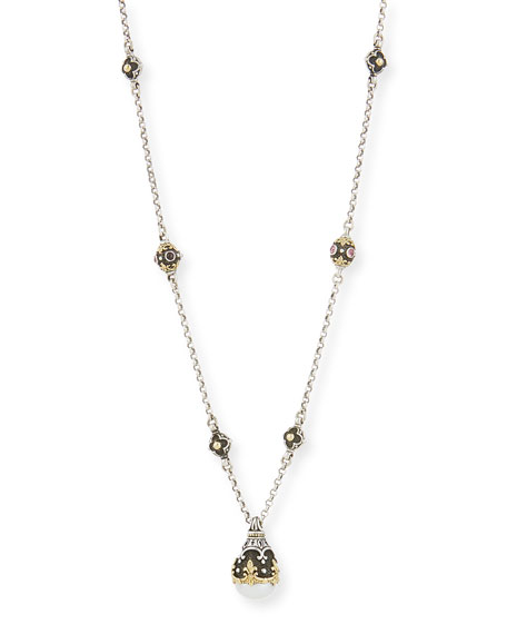 Konstantino Pink Tourmaline & Pearly Pendant Necklace