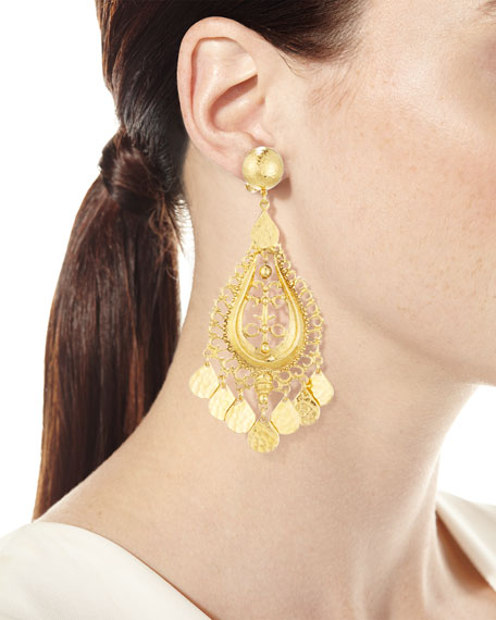 Hammered Golden Teardrop Statement Earrings