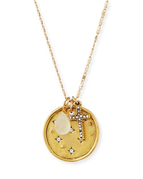 Sequin Night Sky & Cross Talisman Pendant Necklace