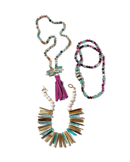 Cuban Beaded Tassel Necklace, 36""
