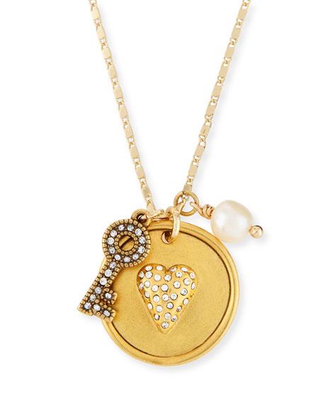 Sequin Heart & Key Talisman Pendant Necklace