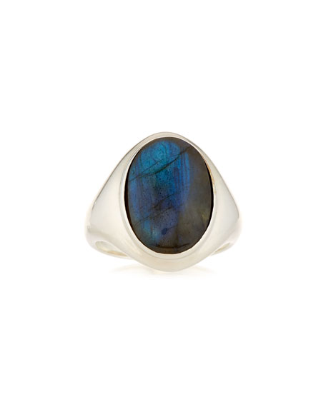 Labradorite Signet Statement Ring