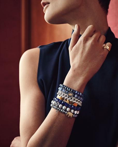 8mm Labradorite Beaded Bracelet with Diamond Cross Charm