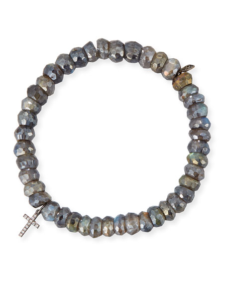 Sydney Evan 8mm Labradorite Beaded Bracelet with Diamond
