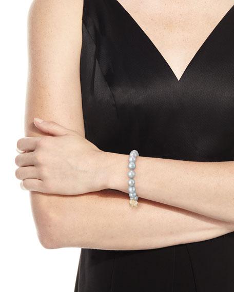 Gray Potato Pearl Beaded Bracelet with Diamond Elephant Charm