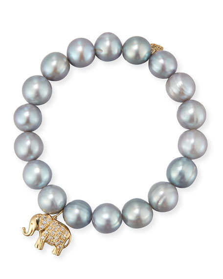 Gray Potato Pearl Beaded Bracelet with Diamond Elephant Charm