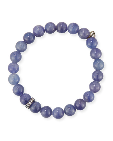 Sydney Evan 8mm Iolite Beaded Bracelet with Diamond