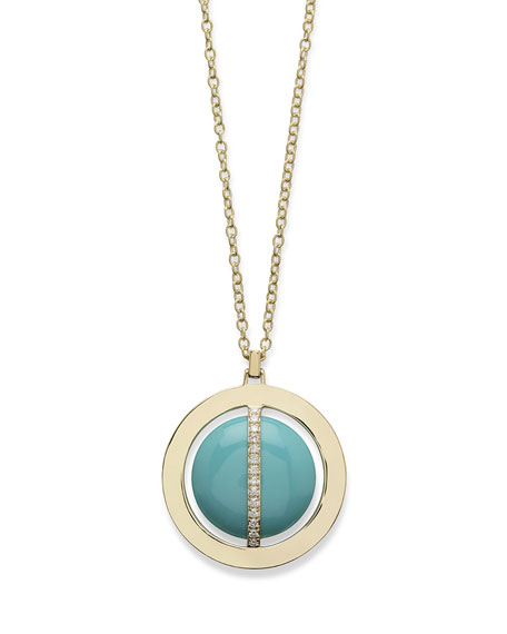 """18K Senso Metal-Wrapped Turquoise Necklace with Diamonds, 31"""""""