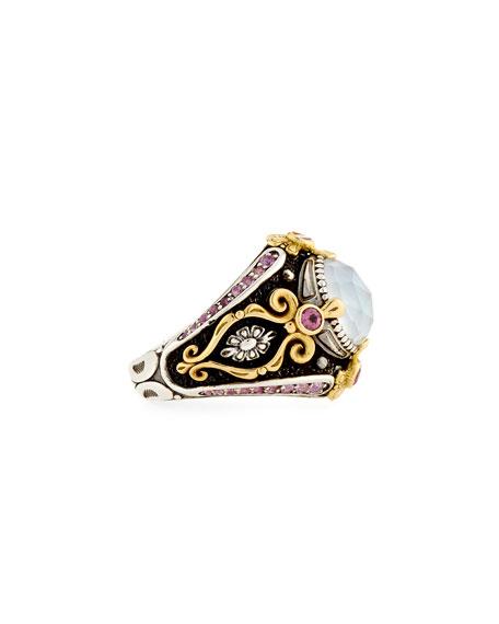 Pink Tourmaline & Pink Crystal Quartz Over Sapphire Ring
