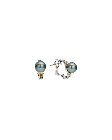 Lagos Luna Half-Hoop Tahitian Pearl Earrings