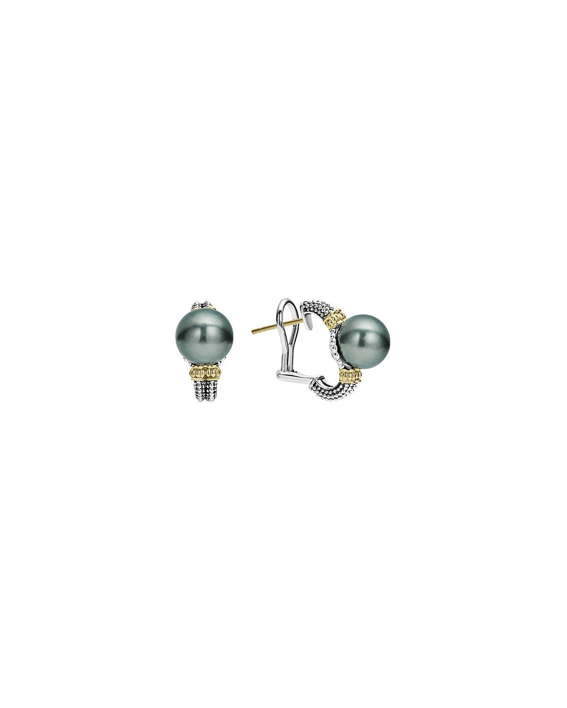 Luna Half Hoop Tahitian Pearl Earrings