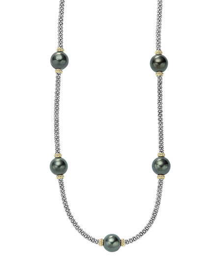 Lagos Luna Beaded Rope Necklace with Five Tahitian
