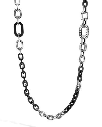 Dot Carved Ebony Link Necklace, 36