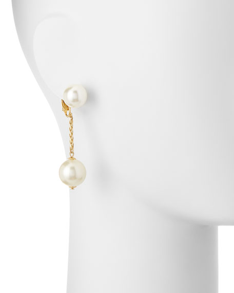 Pearly Chain Drop Clip-On Earrings