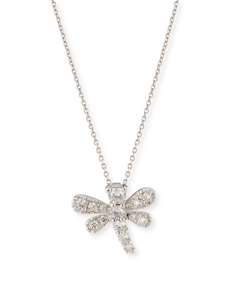 Roberto coin tiny treasures diamond dragonfly necklace in 18k white tiny treasures diamond dragonfly necklace in 18k white gold mozeypictures Images