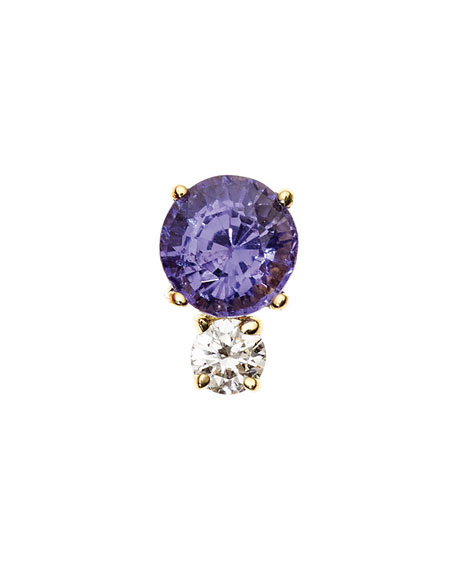 Prive Purple Sapphire & Diamond Single Stud Earring