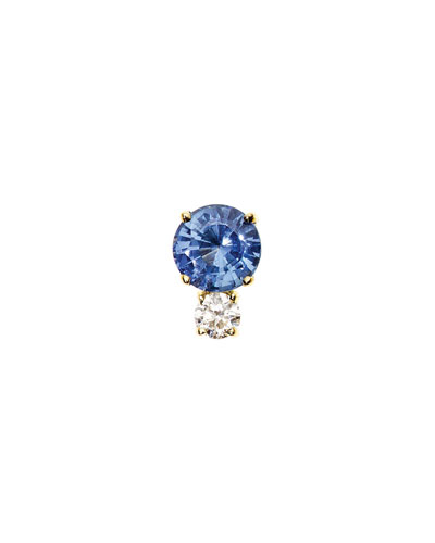 Prive Ceylon Blue Sapphire & Diamond Single Stud Earring