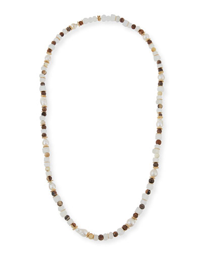 Horn, Pearl & Java Glass Long Strand Necklace, 40