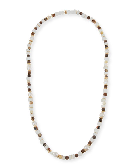 Horn, Pearl & Java Glass Long Strand Necklace, 40""