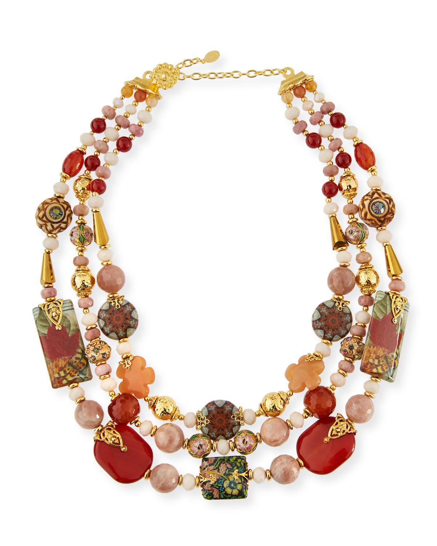 Jose & Maria Barrera Three-Strand Mixed Bead Necklace M2KiAjeso