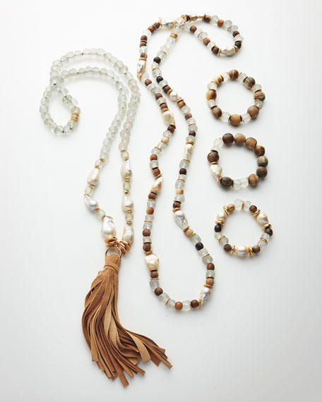 Long Pearl & Java Glass Tassel Necklace